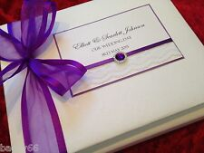 "LUXURY Vintage Wedding Engagement Guest Book In Box Purple Lace Large 8"" x 10"""