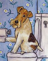 FOX TERRIER BATHROOM picture dog ART PRINT poster 8x10  gift new