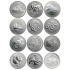 Australia 2008-2019 Perth Mint Complete 12-Coin Lunar II Series 1 Oz Silver Set