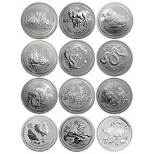 Australia 2008-2019 Perth Mint 12-Coin Lunar Zodiac Tiger Dragon 1 Oz Silver Set