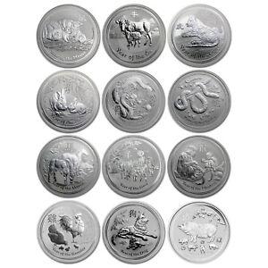 Australia 2008-2019 Perth Mint Complete 12-Coin Lunar II Series 1 Oz Silver Set