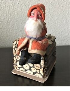 Antique German Christmas SANTA CLAUS on LOG PILE CANDY CONTAINER