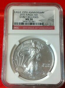 2011 Silver Eagle certified Early Releases, MS 70 by NGC! NO RESERVE!