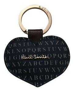 Paul Smith Womens Blue Leather HEART shape Keyring / Keyfob -
