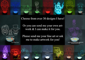 Custom LED Night Light 3D illusion Lamp 16 Changing Colours Remote Hero Lamp