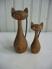 PR Vintage Mid Century Modern Cryptomeria Wood Kitty Cat Figures Japan