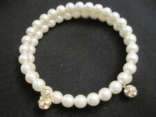 Memory Wrap Faux Pearl Bracelet with Rhinestone End Beads