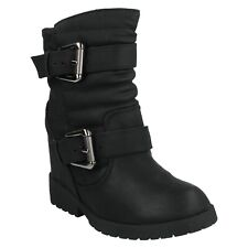 LADIES SPOT ON HIDDEN WEDGE ANKLE BOOTS  BUCKLE BROWN  BLACK F50333 SIZE