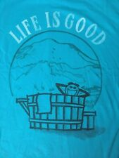 Life is Good Jake in Hot Tub Long Sleeve Crusher T Shirt Size Medium Blue NWT