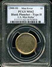 (2000-2010) $1 US Dollar Blank Planchet Mint Error Type 2 MS62 PCGS 16703816