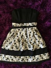 Red Herring Ladies Black White Grey Embroidered Strapless Prom Dress Size 10
