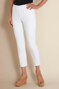 NWT's $69 Soft Surroundings White Metro Crop Womens Leggings Jeans SZ LP L 14 16