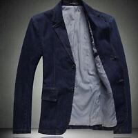 New Mens Denim Two Button Blazer Business Suits Jacket Slim Fit Jean Coat M-4XL