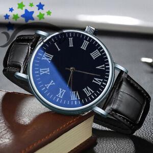 Fashion Men's Casual Analog Quartz Wrist Business Leather Watches Black-E5