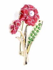 Gold tone enamel red flower brooch with crystal