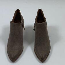Frye Womens Reed Shooties Taupe Pointed Toe Zip Block Heels 3470402 7 M New