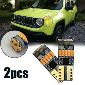 2x T10 168 194 4014 LED Side Marker Light Bulbs 3000K Amber Canbus Error Free