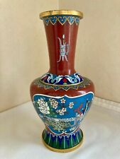 More details for vintage chinese cloisonne vase decorated with flowers & brushpots 21cm height