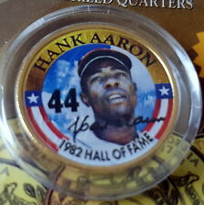 HANK AARON NEW Golden Baseball Legends 24KT Gold Plated 1982 HOF Quarter BRAVES