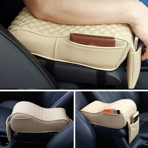 Beige Leather Car Auto Center Armrest Heighten Pad Cushion Storage Bag Portable