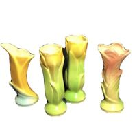 "Set Of 4 Vintage Shawnee Pottery Yellow and Green Tulip Vase #1115 5"" Tall USA"