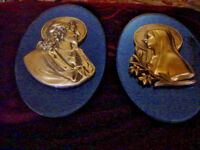 TWO 2   ANTIQUE CHRIST & MARY SILVER BUST OVAL PLAQUES BY KIMBRUE & CO.