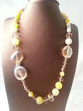 "Summer offer Necklace ""Champagne"" Precious stone Crystal 48 cm new Price drops"