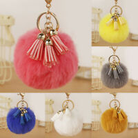 Pompom Faux Rabbit Fur Ball Keychain Tassel Key Ring Bag Pendant Soft Cute Gift