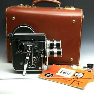 Bolex H8 Reflex 8mm Movie Camera - 3 Kern Macro Switar Lens 5.5mm 12.5mm 36mm