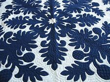 """Hawaiian quilt BEDSPREAD wall hanging HANDMADE 100% hand quilted/appliqued 80"""""""