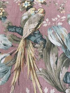 Sanderson Pink Linen Bird Fabric ' Guadeloupe' 66cm Wide X 62cm Long