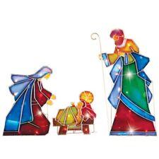 Lighted Mosaic Mary, Joseph, Jesus Christmas Nativity Scene Outdoor Decoration