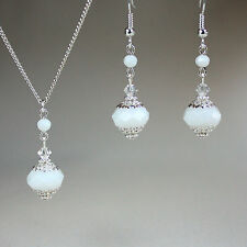 White crystal silver necklace earrings wedding bridal bridesmaid jewellery set