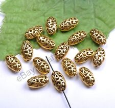 20pcs Tibetan Silver& Gold & Bronze Ellipse Shaped Hollow Spacer Beads 18MM CA22