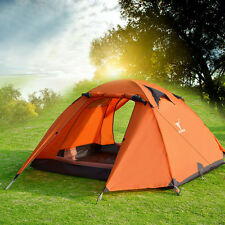 2-3 Person Double Layer Waterproof 4 Season Camping Hiking Tent Aluminum Orange
