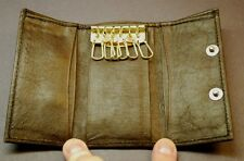 Brown 6 Key Chain Holder Snap Pouch / Tri- Fold Wallet