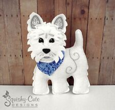 Westie Sewing Pattern - Small Dog Stuffed Animal Felt Plushie Pattern & Tutorial