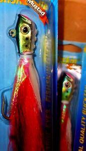 3 X 1 Oz BUCKTAIL JIGS Mustad JIGS GLOW FINS 3 PER ORDER ! LARGE EYES FISHSKIN