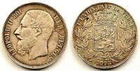 Belgica-Leopoldo II. 5 francos 1873. MBC+/VF+ Plata 25 g.