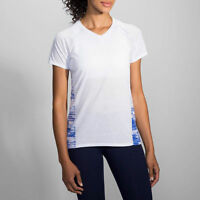 New Brooks Women's Distance Short Sleeve Running Athletic Shirt-M-White/Cobalt