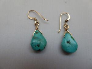 14K GF Turquoise Colored Chunks Dangle Drop Earrings - Pierced Ear Type