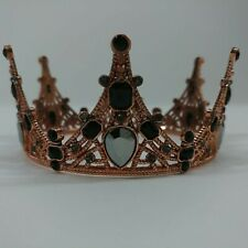 Metal Rhinestone Inlay Delicate Crown Centerpiece Party Decoration Bronze Gold