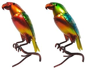 2 x Parrot Glazed Garden Ornament HAND PAINTED! Figurine Statue Patio Lawn Metal