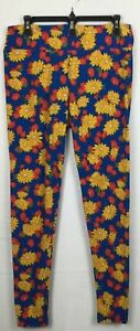 LuLaRoe Women's Tall & Curvy Leggings Pants Blue Coral Yellow Daisy Floral
