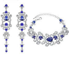 18K WHITE GOLD PLATED GENUINE CUBIC ZIRCONIA SAPPHIRE BLUE EARRING/BRACELET SET