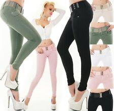 Damen Jeans Hose Röhrenjeans Skinny Slim Fit Stretch Denim Gürtel XS S M L XL