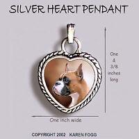 BOXER DOG Cropped Ears  - Ornate HEART PENDANT Tibetan Silver