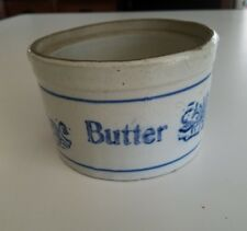 Antique blue and white stenciled stoneware butter crock