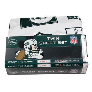 Disney Mickey Mouse NFL Full Sheet Set with Pillow Case Disney NFL NY Jets NEW