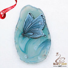 Hand Painted Butterfly Agate Slice Gemstone Necklace Pendant Jewlery D1706 0663